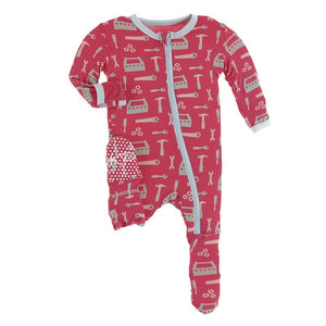 Print Footie with Zipper Flag Red Construction