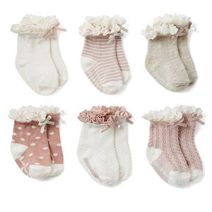 6pk Fancy Pink Socks