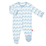 Magnetic Baby Blue Dancing Elephants Footie