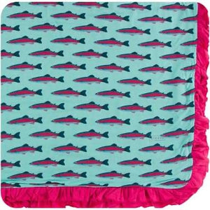 Glass Rainbow Trout Ruffle Toddler Blanket