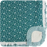Sherpa Lined Double Ruffle Toddler Blanket Jade Running Buffalo Clover