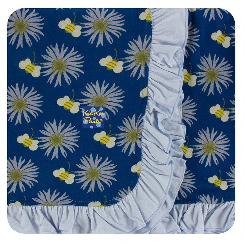 Ruffle Toddler Blanket Navy Cornflower and Bee