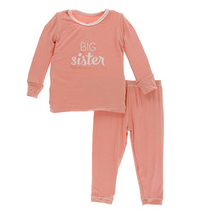 Holiday Long Sleeve Appliqué Pajama Set in Blush Big Sister