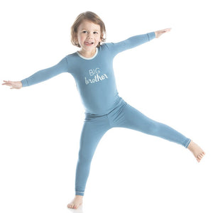 Holiday Long Sleeve Appliqué Pajama Set in Blue Moon Big Brother