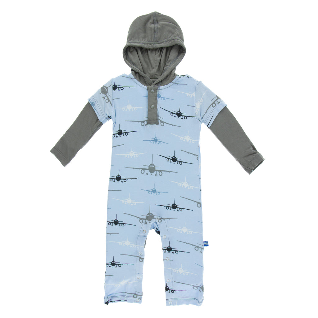 Long Sleeve Hoodie Romper Pond Airplanes