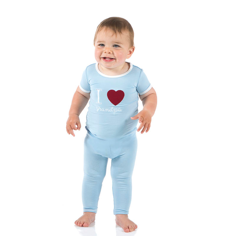 Holiday Short Sleeve Appliqué Pajama Set in Pond I Love Grandpa with Natural Trim