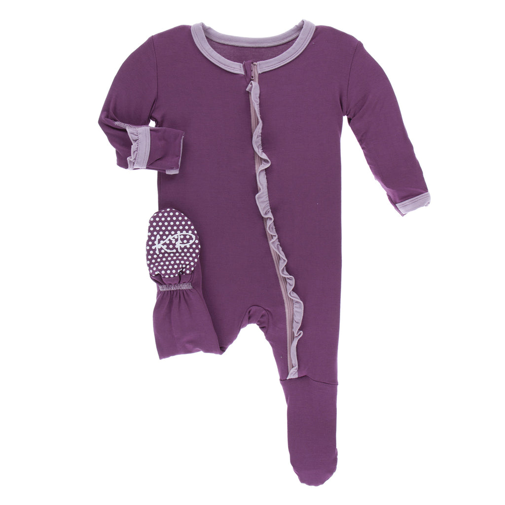 Classic Ruffle Footie with Zipper Amethyst with Sweet Pea