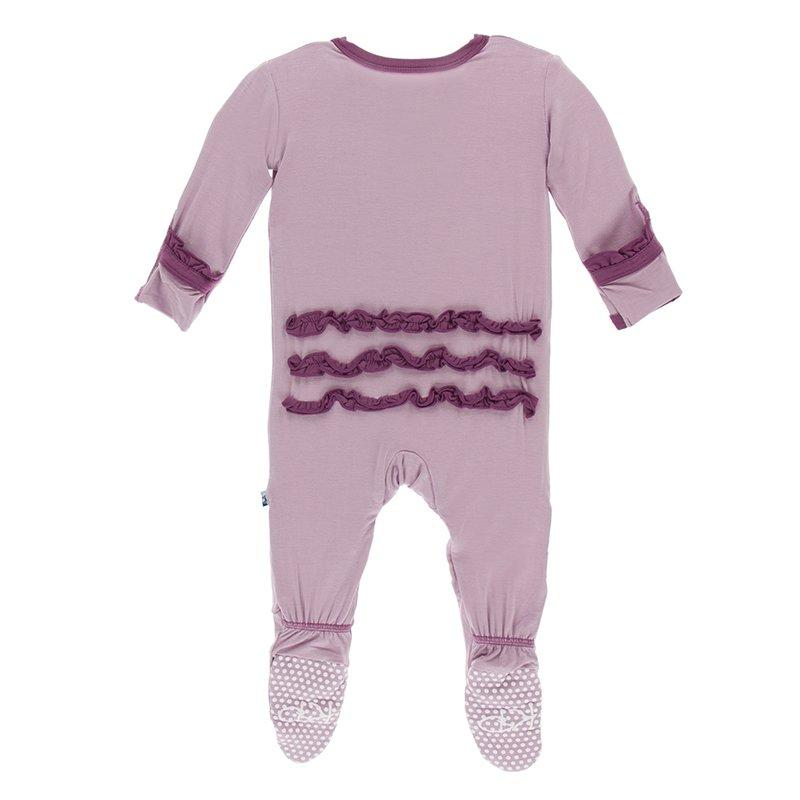 Classic Ruffle Footie with Zipper Sweet Pea with Amethyst