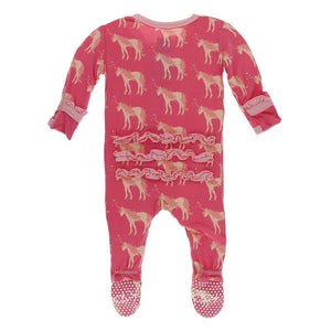 Classic Ruffle Footie with Zipper Red Ginger Unicorns