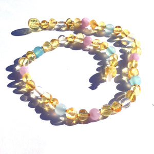 Wild Lemon, Rose Quartz, Amazonite  and Clear Quartz Baltic Amber Teething Necklace