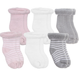 6 Pack Terry Newborn Socks Pink