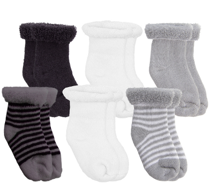 6 Pack Terry Newborn Socks Grey