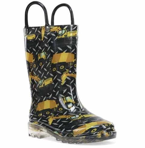 Build Site Construction Light Up Rain Boots