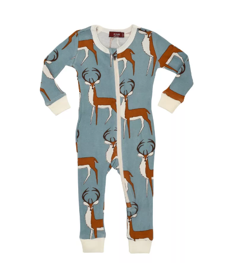 Zipper Pajama Organic Blue Buck