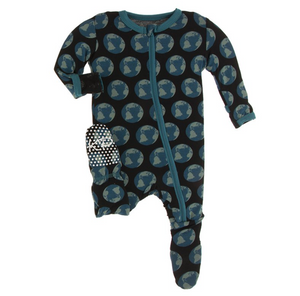 Print Footie with Zipper Midnight Environmental Protection