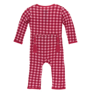 Coverall Flag Red Gingham Snaps