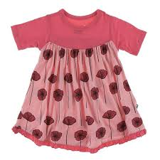 Short Sleeve Swing Dress Strawberry Poppies