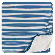 Sherpa Lined Toddler Blanket Fishing Stripe