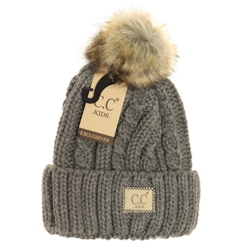 KIDS Cable Ribbed Fur Pom C.C Beanie
