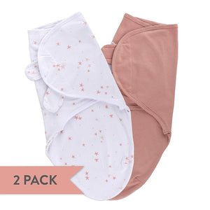 Adjustable Baby Swaddle Wrap Mauve Star 2 Pack