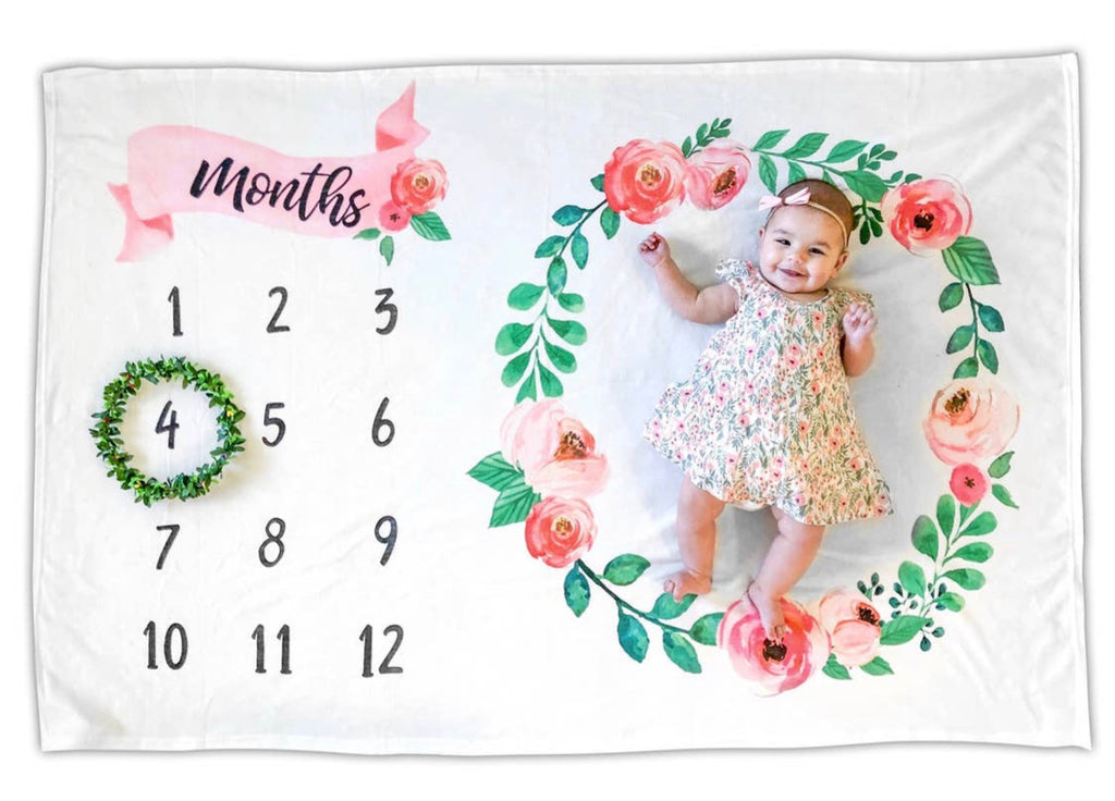 Floral Baby Monthly Milestone Photo Blanket