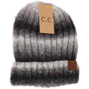 Fuzzy Lined Ombre Knit Cuff Beanie