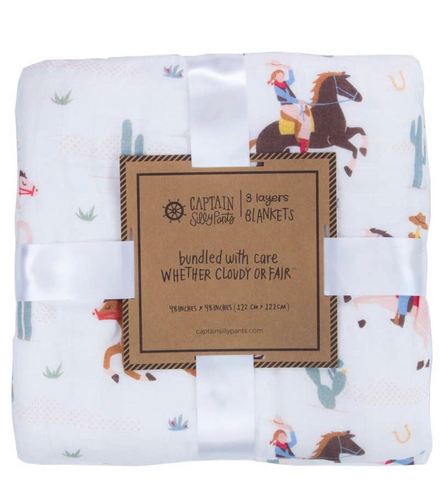 3 Layer Bamboo Blanket Cowgirl