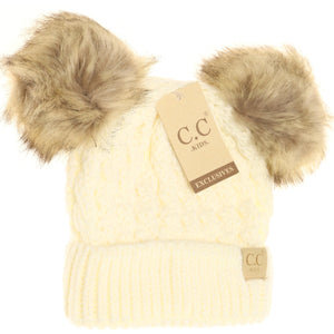 KIDS Cable Knit Double Fur Pom C.C Beanie