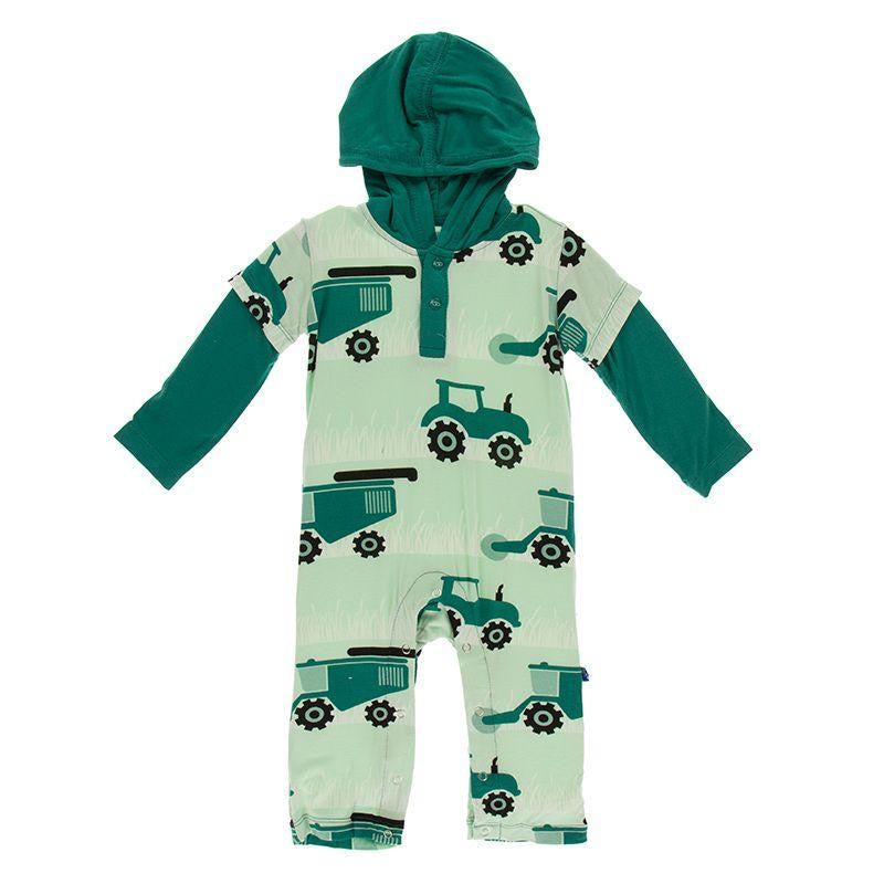Long Sleeve Hoodie Romper Pistachio Tractors and Wheat