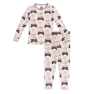 Long Sleeve Pajama Set Macaroon Law Enforcement