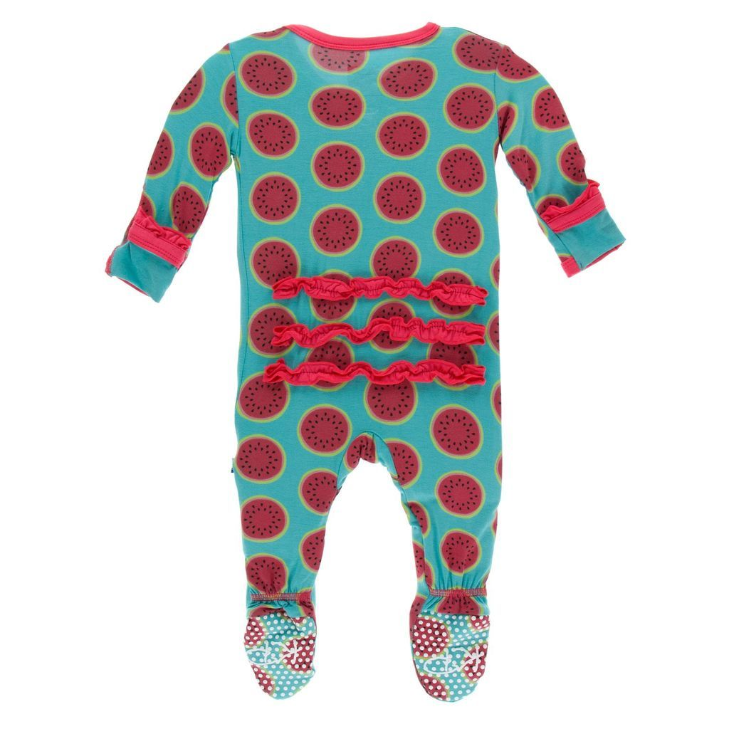 Classic Ruffle Footie with Snap Neptune Watermelon