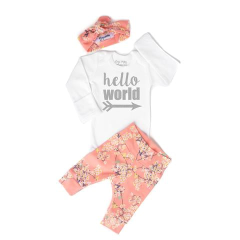 Pink Floral Newborn 3 Piece Outfit Hello World