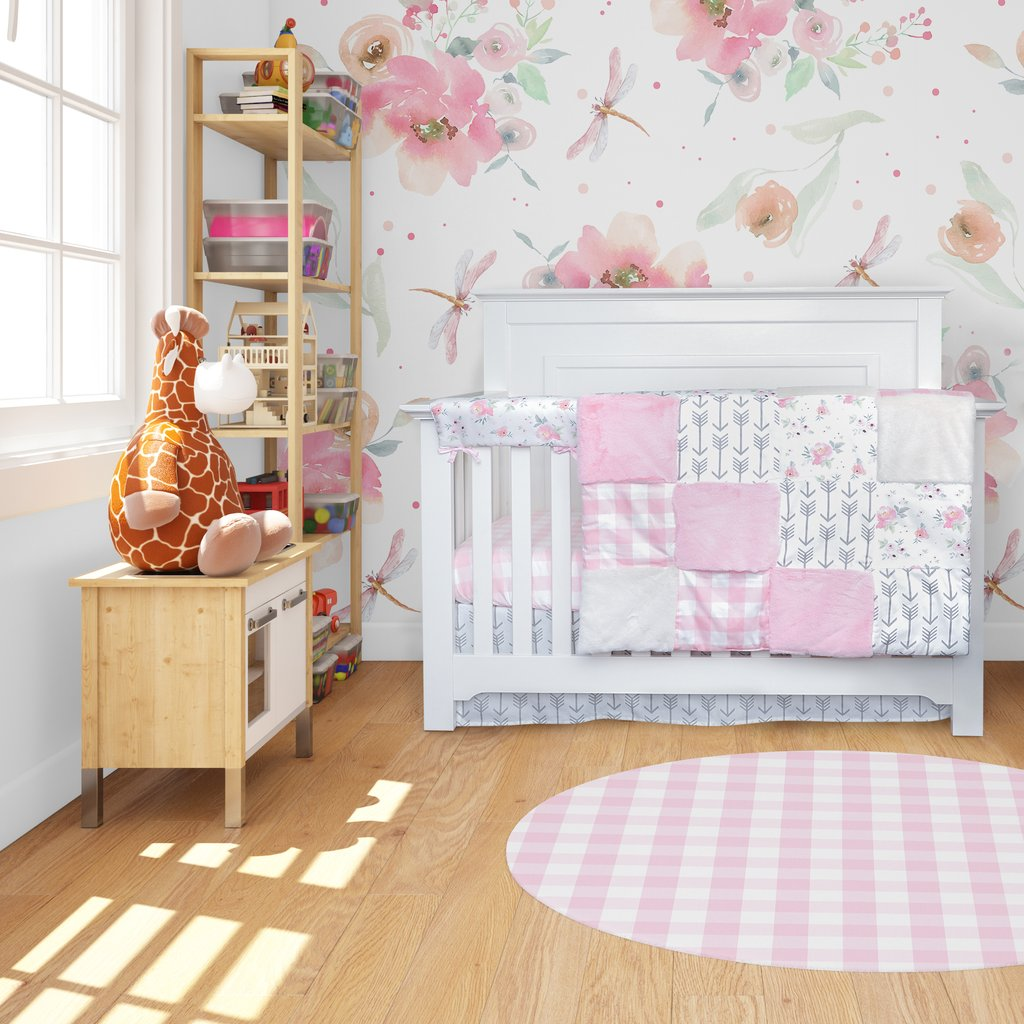 4 Piece Crib Bedding Pink Plaid and Floral Collection