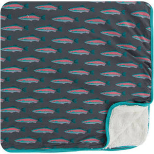 Sherpa Lined Toddler Blanket Stone Rainbow Trout