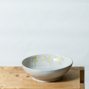 bowl L with yellow handpainting