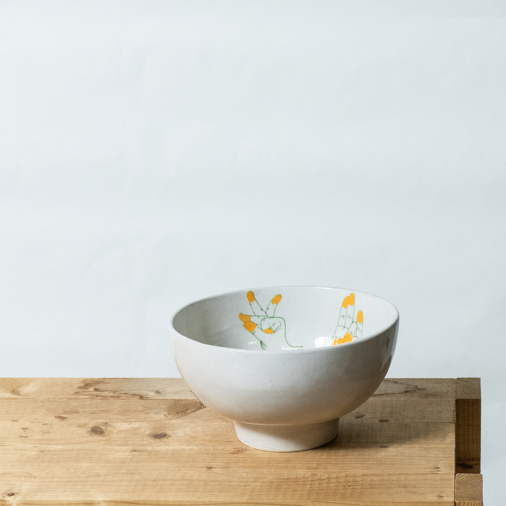 bowl M with yellow handpainting