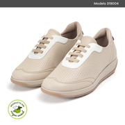 TENIS PICCADILLY MAXI BEIGE CON BLANCO