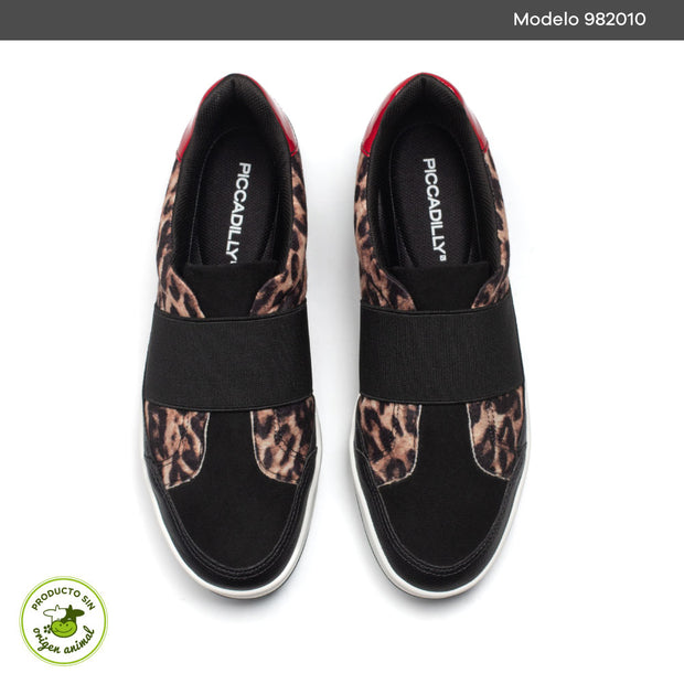 TENIS PICCADILLY NEGRO CON ANIMAL PRINT