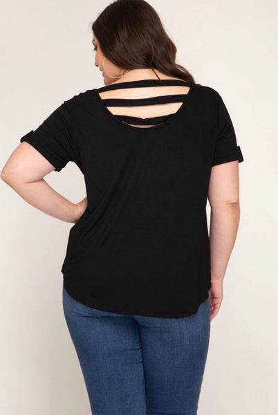 Plus Short Sleeve Knit Top