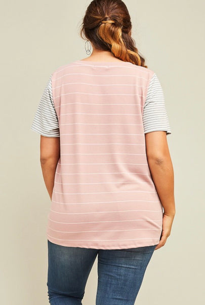 Plus Stripes Scooped Neck