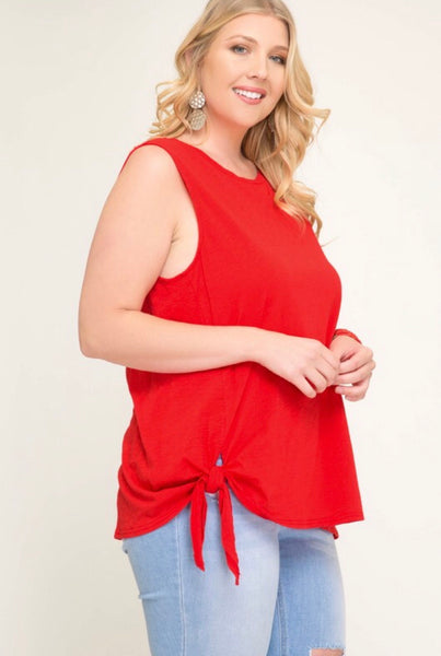 Plus Sleeveless Side Tie Top