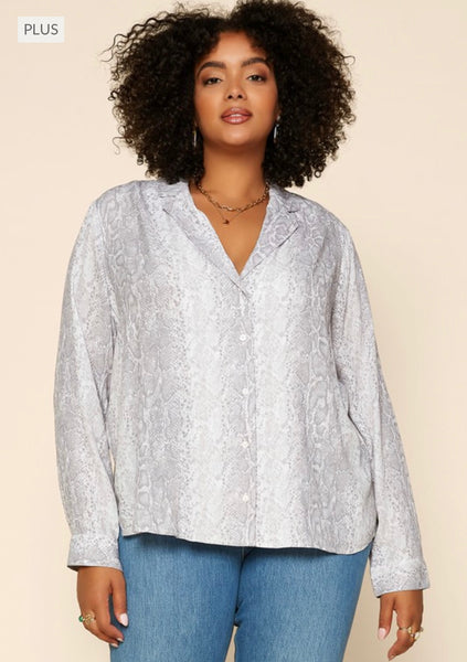 Plus Grey Collared Blouse