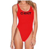 Chixit One-Piece Swimsuit in Black, Red and White