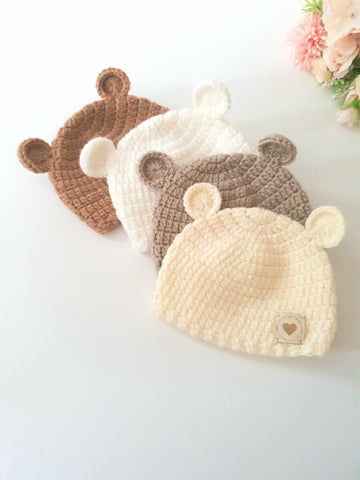 Baby Bear Hat in Natural Colours