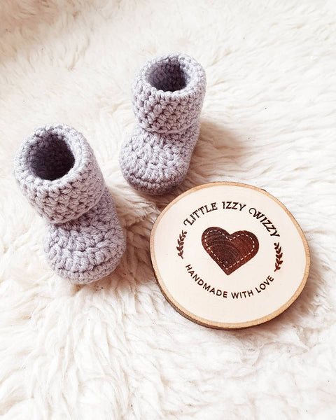 Silver Grey Classic Baby Booties