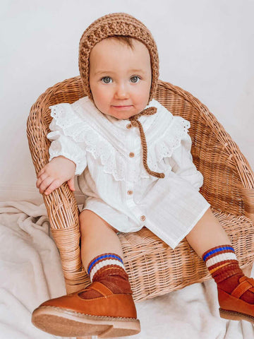 Classic Baby Bonnet in Natural Brown