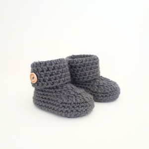 Dark Grey Classic Baby Booties - Little Izzy Wizzy