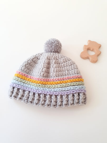 Newborn Rainbow and Pompom Hat