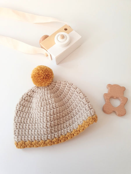 Ready to ship - Mustard Pompom Hat