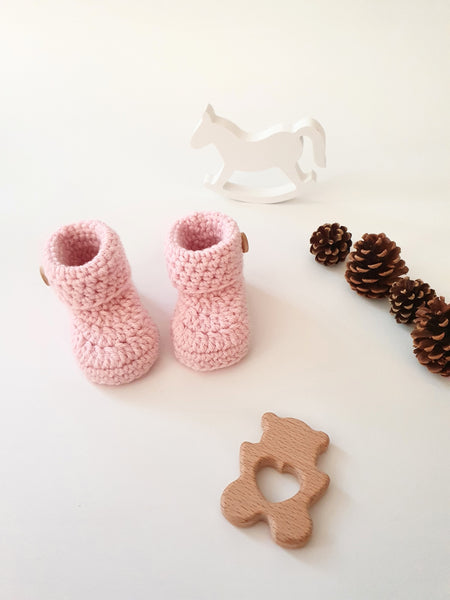 Baby Pink Classic Baby Booties